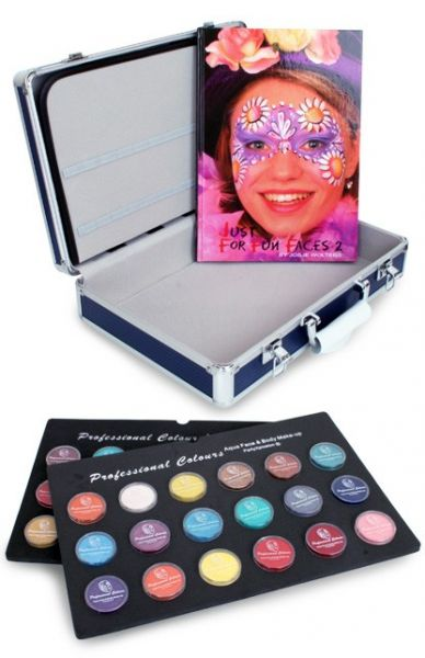 Face Paint case with 36x10g face paint jars and face paint book
