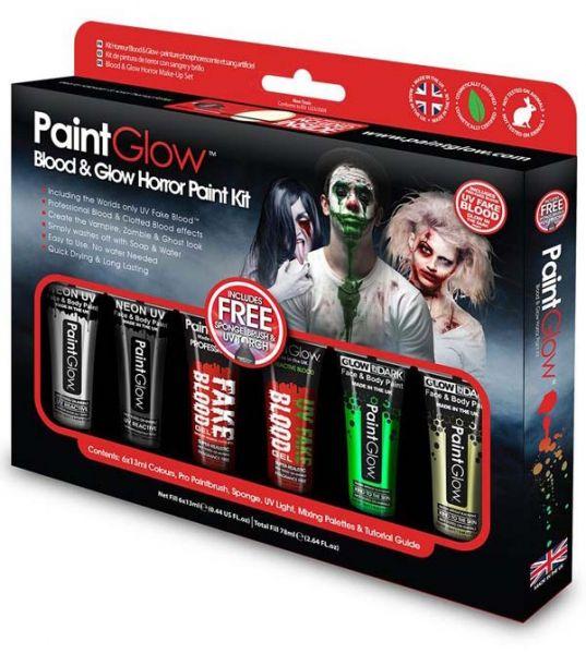 PaintGlow Blood & Glow Horror Halloween Face & Body Paint kit