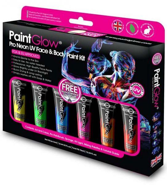 PaintGlow Pro neon UV Face & Body Paint kit