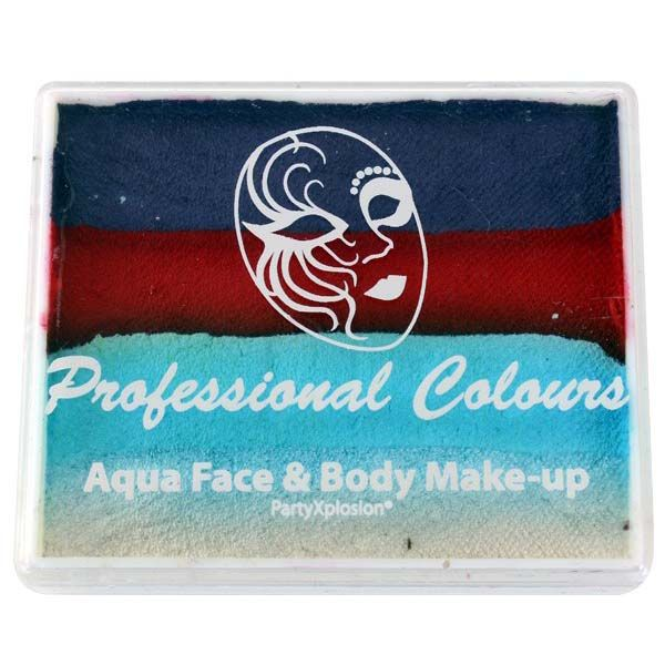 Aqua face & body paint paars metallicblauw lichtblauw wit